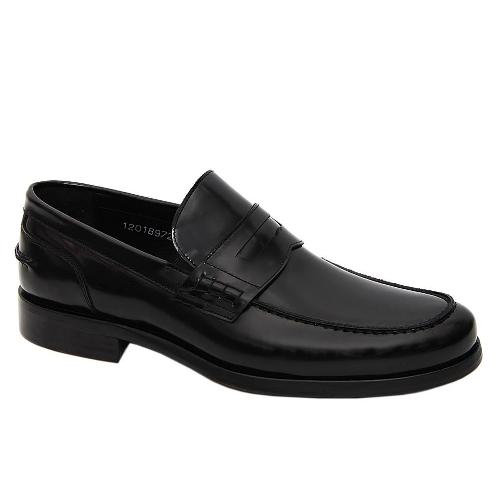 Black Piero Italian Leather Men Penny Loafers