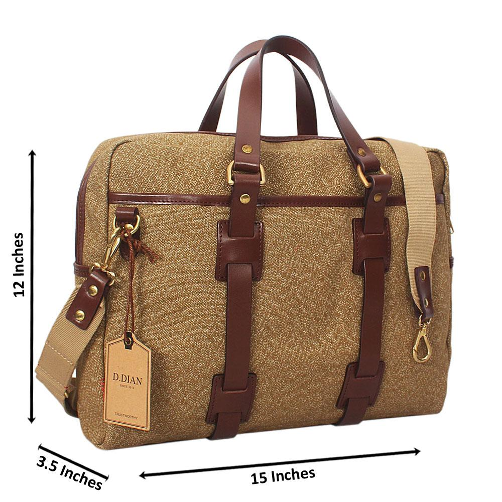 Brown-Water-Proof-Khaki-Leather-Mix-Triple-Briefcase