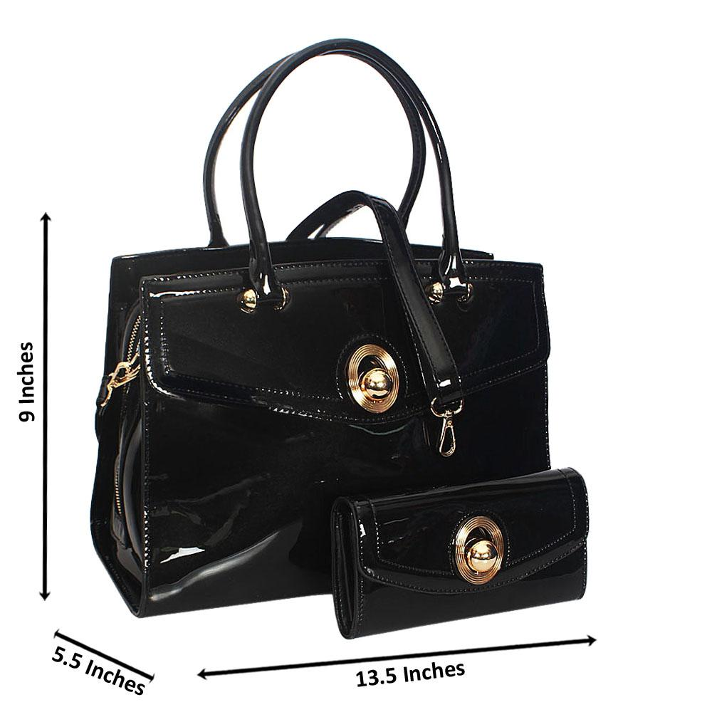 Cece Black Patent Leather Tote Handbag Wt Purse