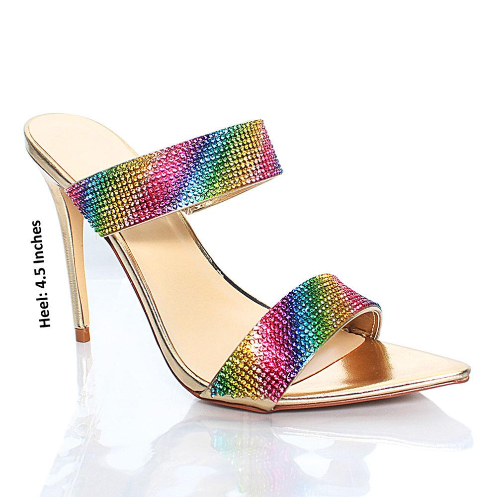 Multicolored Crystal Studded High Heels