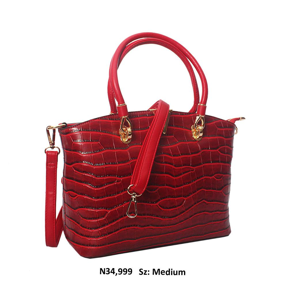 Burgundy Regina Croc Style Leather Tote Handbag