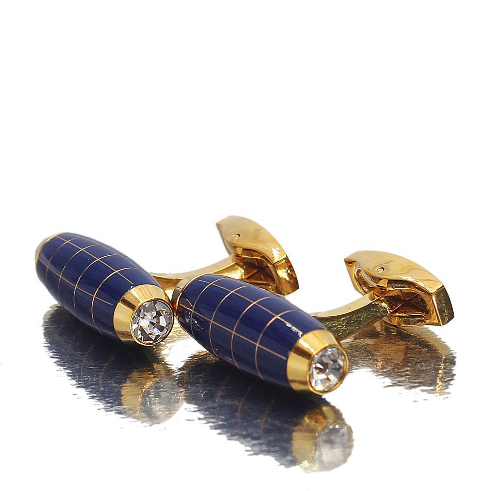 Gold Blue Barrel Stainless Steel Cufflinks