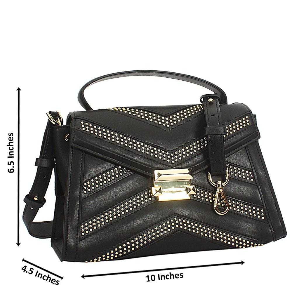 Black Studded Cowhide Leather Mini Top Handle Handbag