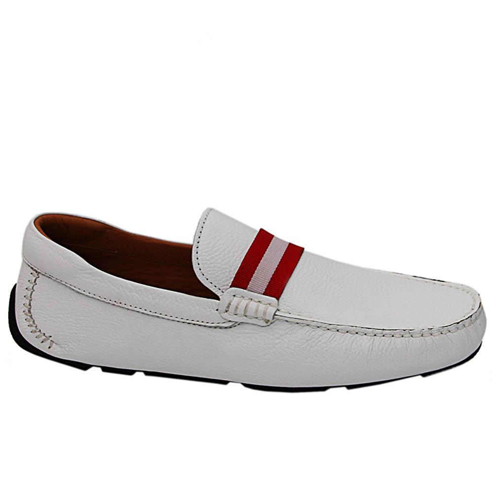White Filberto Italian Leather Men Drivers Shoe