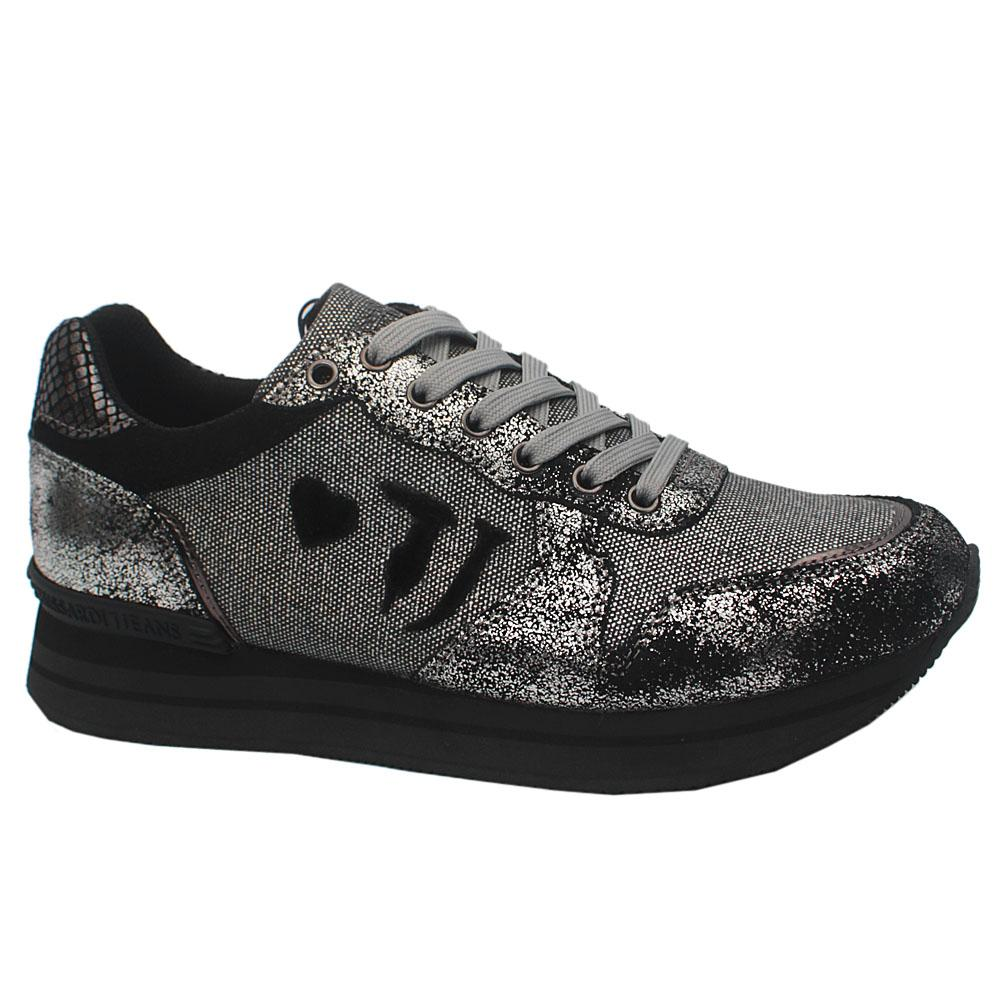 Trussardi Silver Shimmering Suede Sneakers