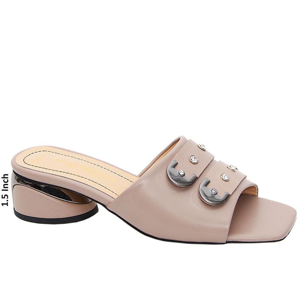 Dark Beige Matilda Tuscany Leather Low Heel Mule