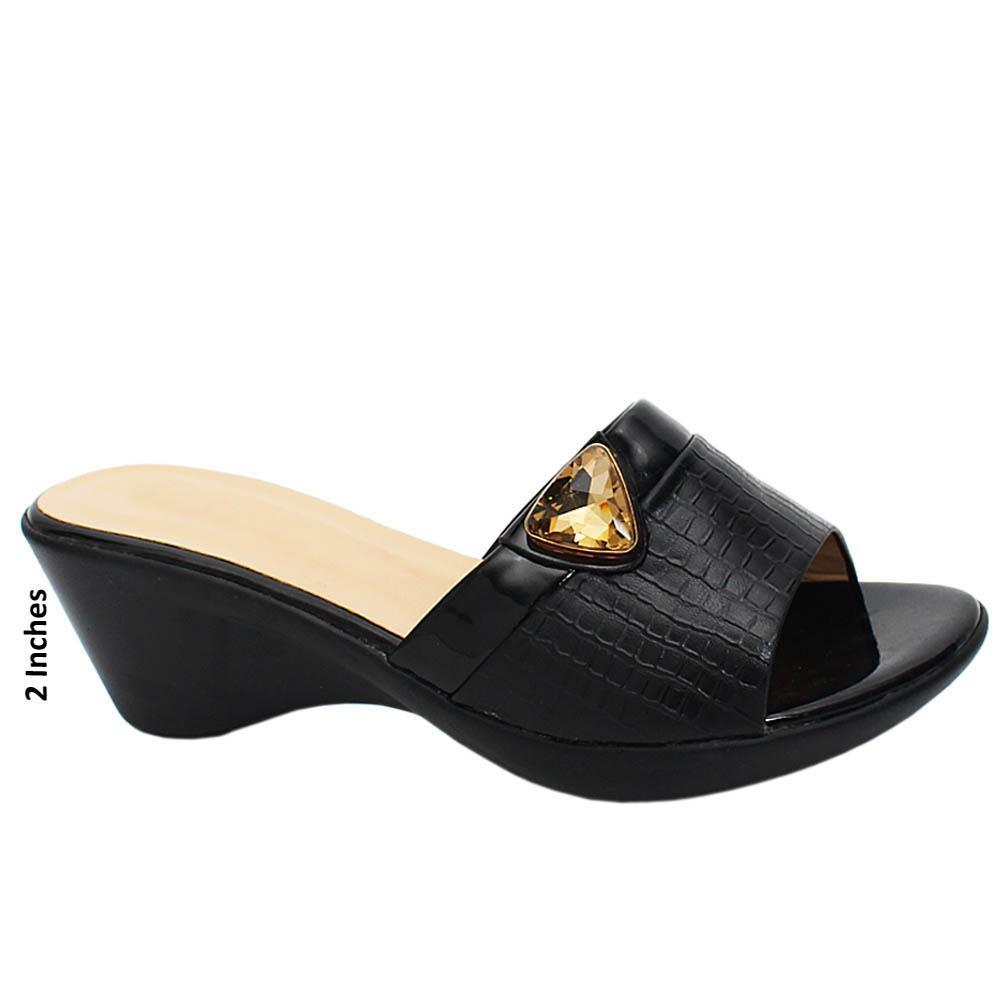Black Esmeralda Leather Wedge Heels