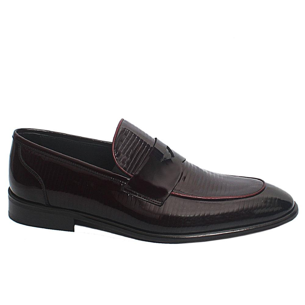 Wine Oliver Patent Leather Penny Loafers