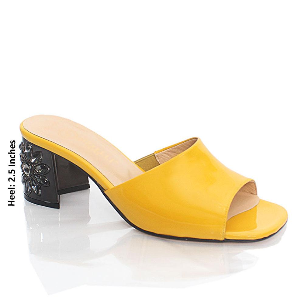 Yellow Luisa Patent Italian Leather Mule