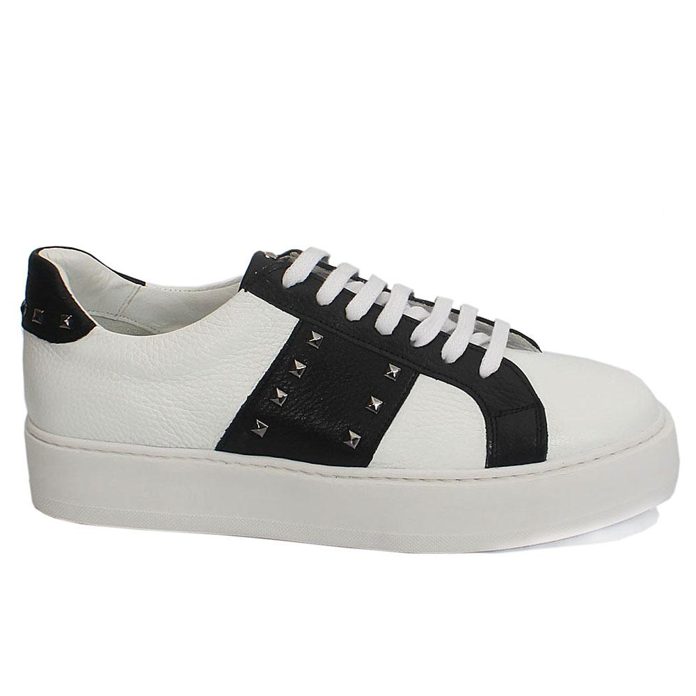 Sabatini White-Black Studded Leather Thick Sole Sneakers
