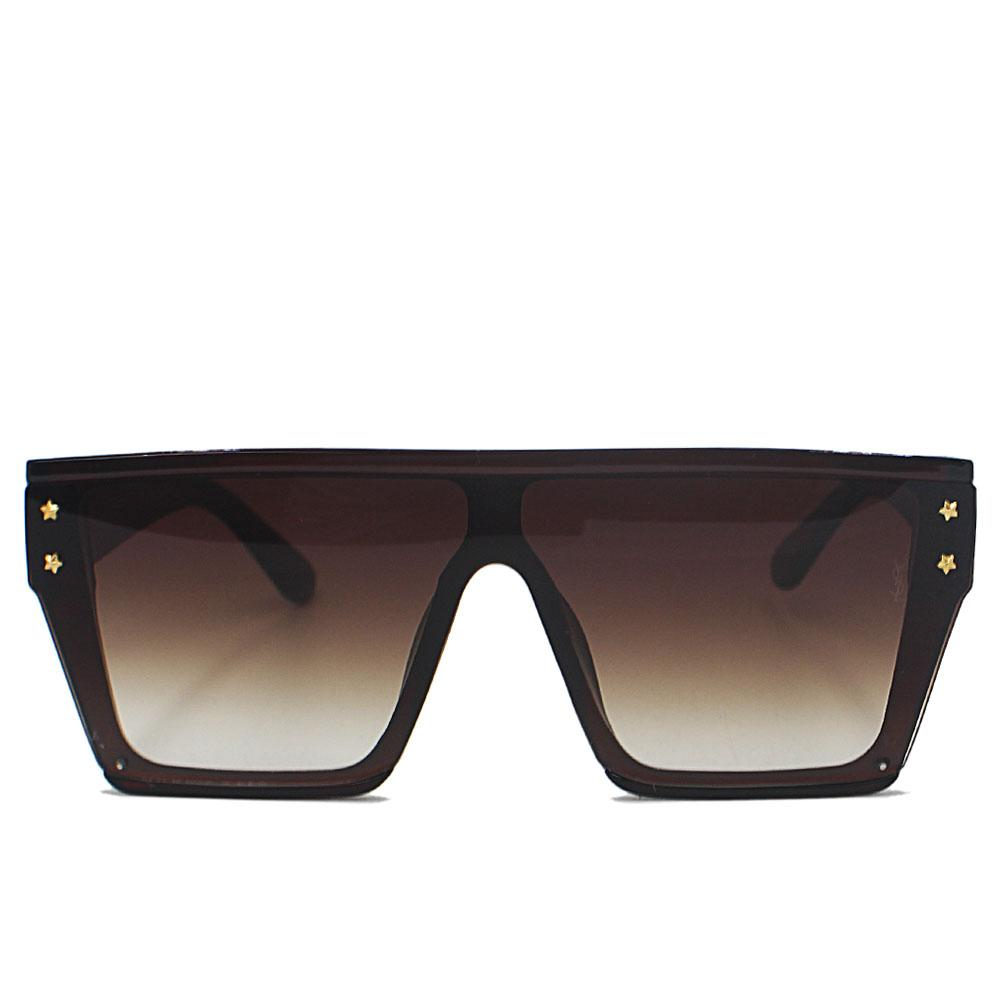 Brown Woman Oversize Shield Sunglasses
