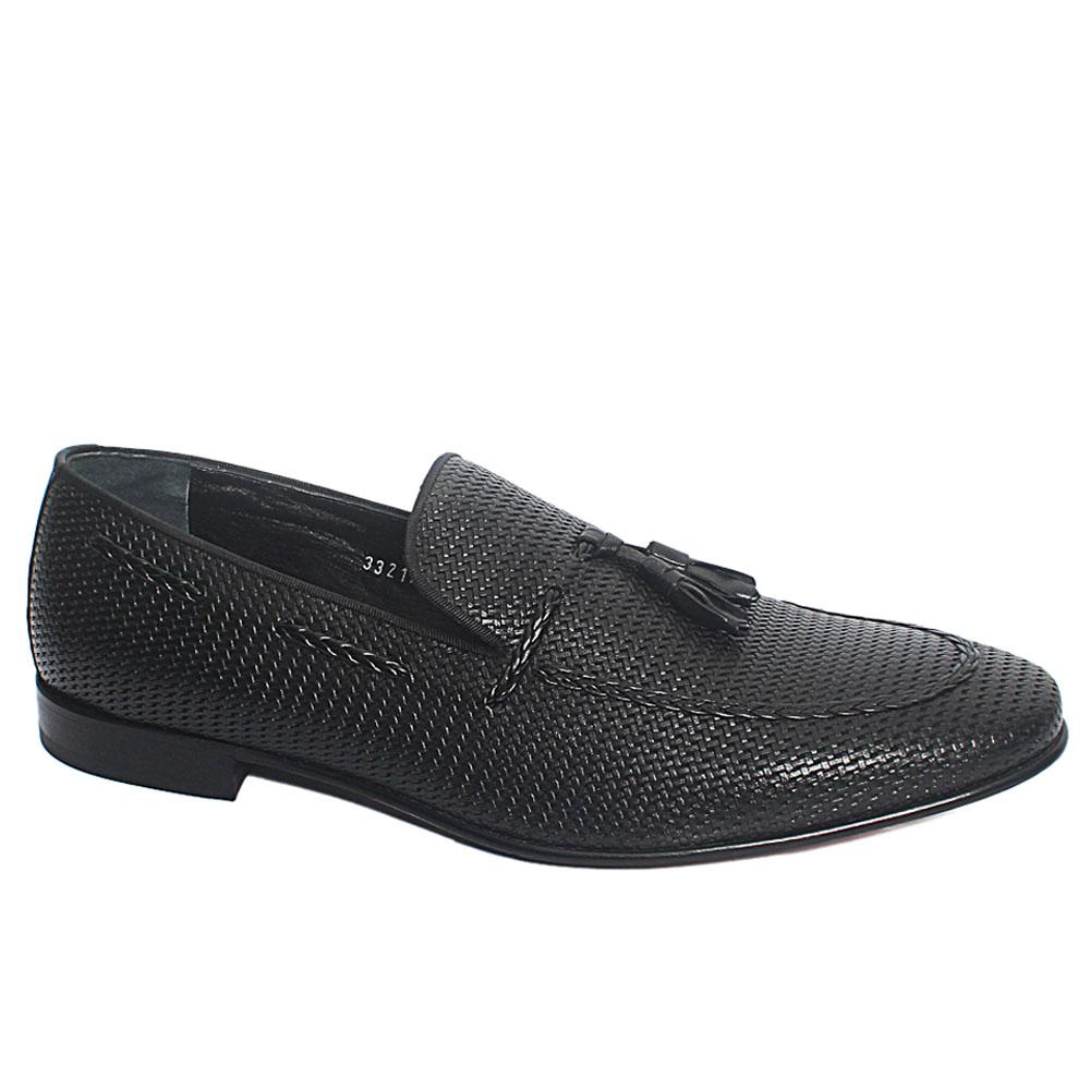 Black Tingo Woven Style Italian Leather Penny Loafers