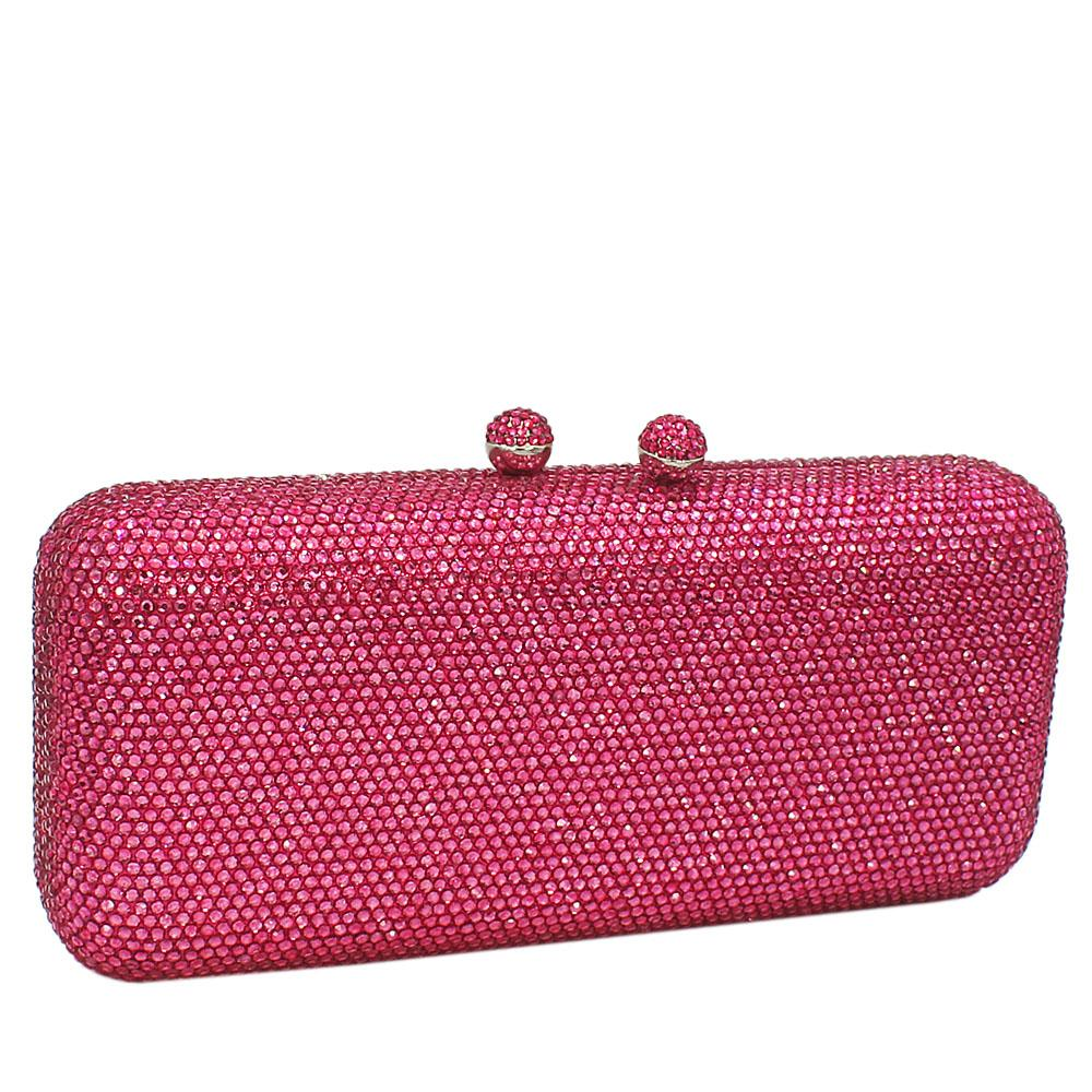 Pink Crystals Studded Clutch Purse