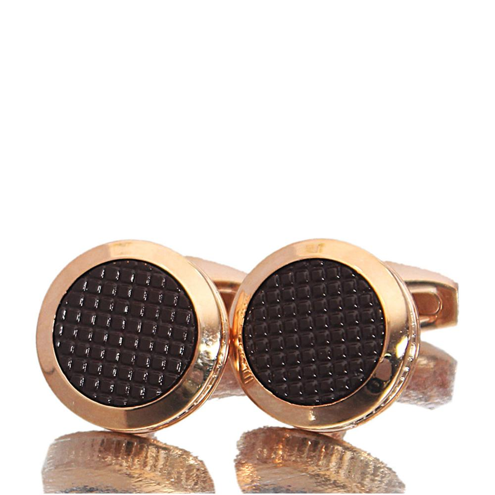 Rose Gold Brown Ceramic Stainless Steel Cufflinks