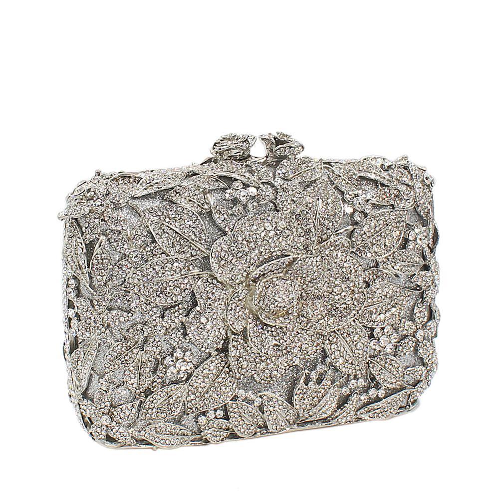 Silver Garden Diamante Crystal Clutch Purse