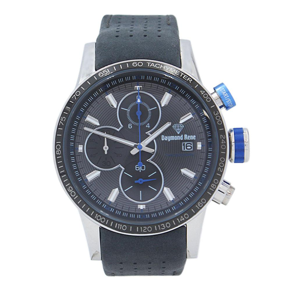 Gray Silver Leather Chronograph Watch
