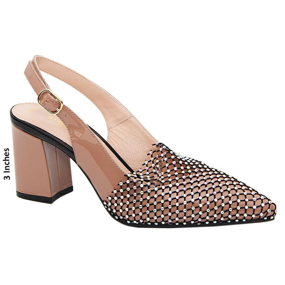 Dark Beige Avery Crystal Tuscany Leather Mid Heel Slingback Pumps
