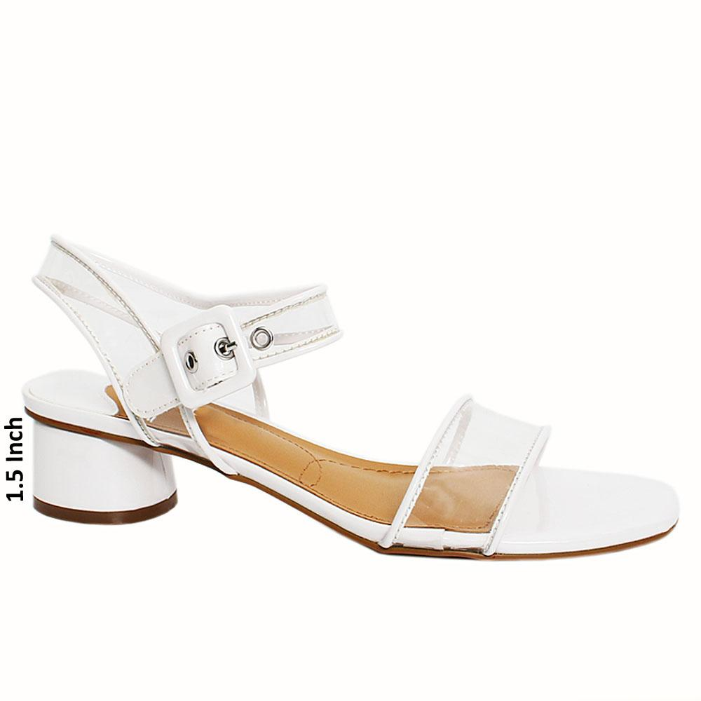 White Campus Transparent Rubber Leather Low Heel