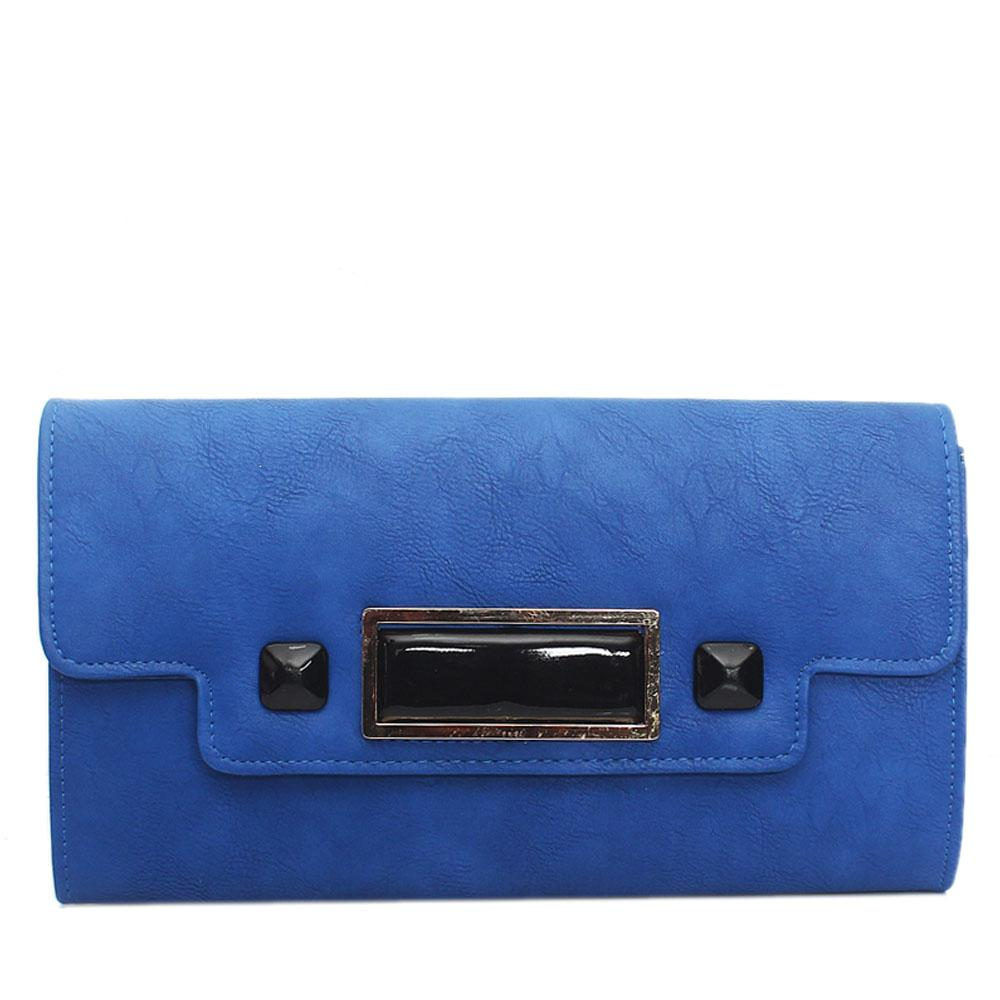 Blue Selene Leather Flat Purse
