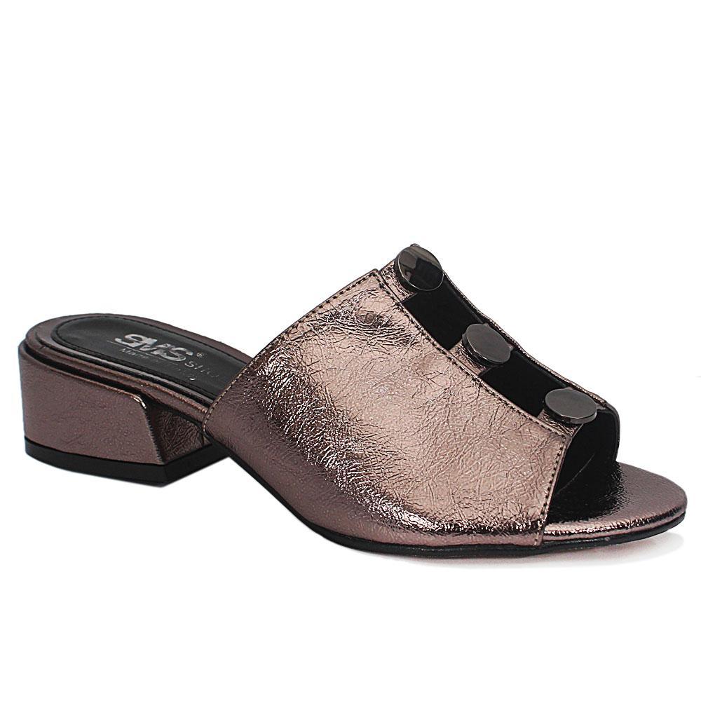 Eldora Metallic Bronze Open Toe Leather Low Heel Slippers