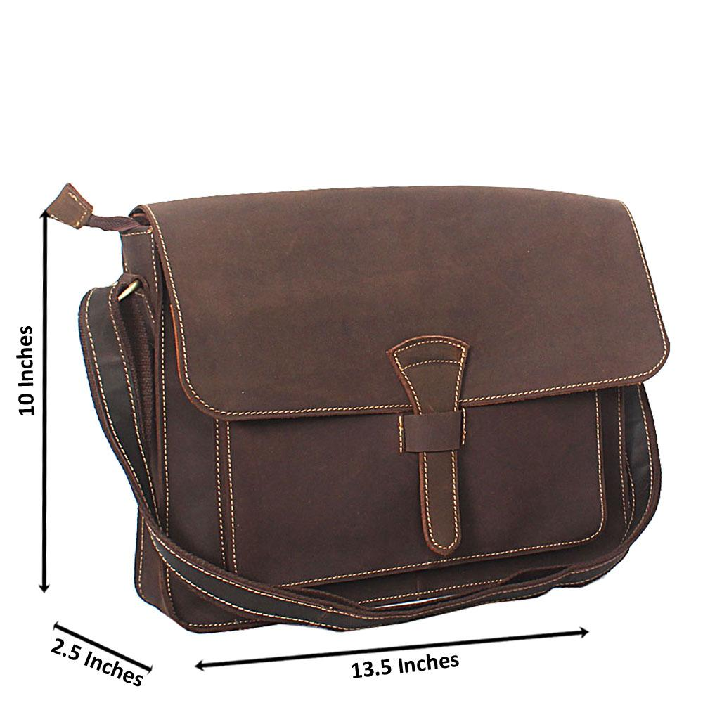 Coffee Brown Distressed Leather Messenger Bag