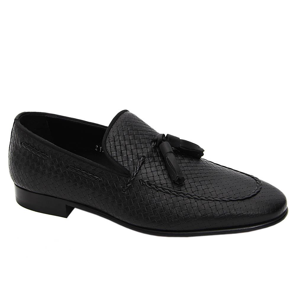 Black Arman Torres Italian Leather Tassel Loafers