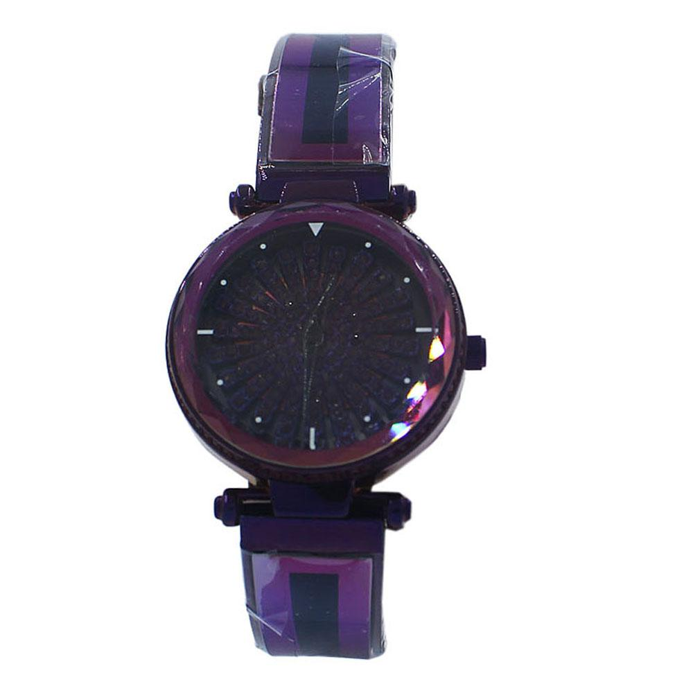 Purple Crystal Studded Stainless Steel Spinners Ladies Watch