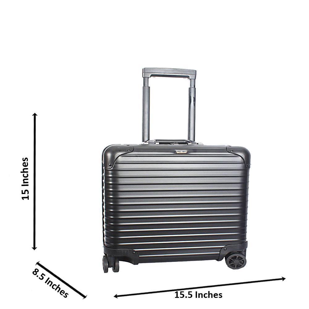 Black 16 Inch Aluminium Pilot Suitcase Wt TSA Lock