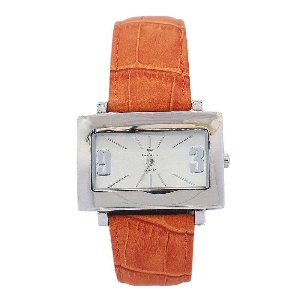DR 3ATM Silver Light Brown Classic Leather Ladies Watch