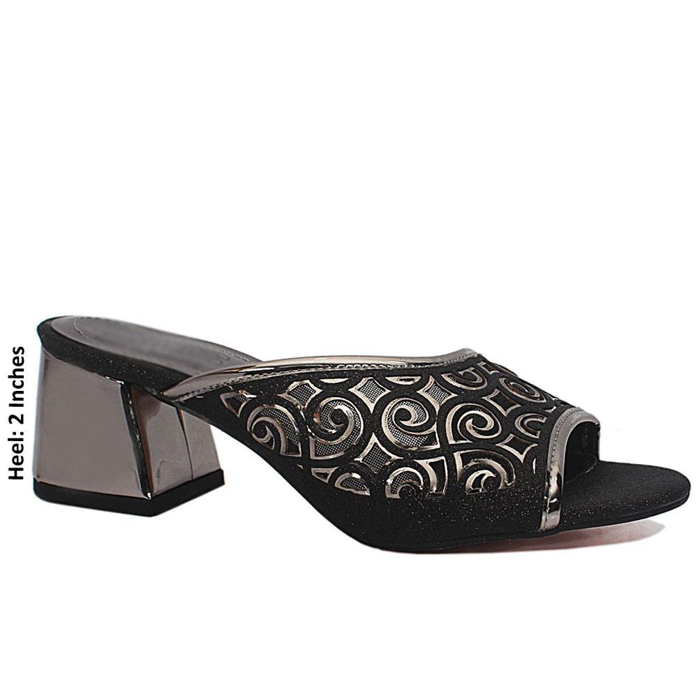 Black Open Toe Shimmering Leather Low Heel Mule