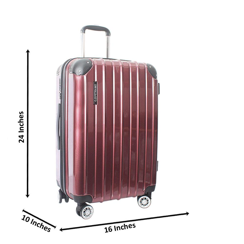 Wine 24 Inch Hardshell Medium Suitcase Wt TSA Lock