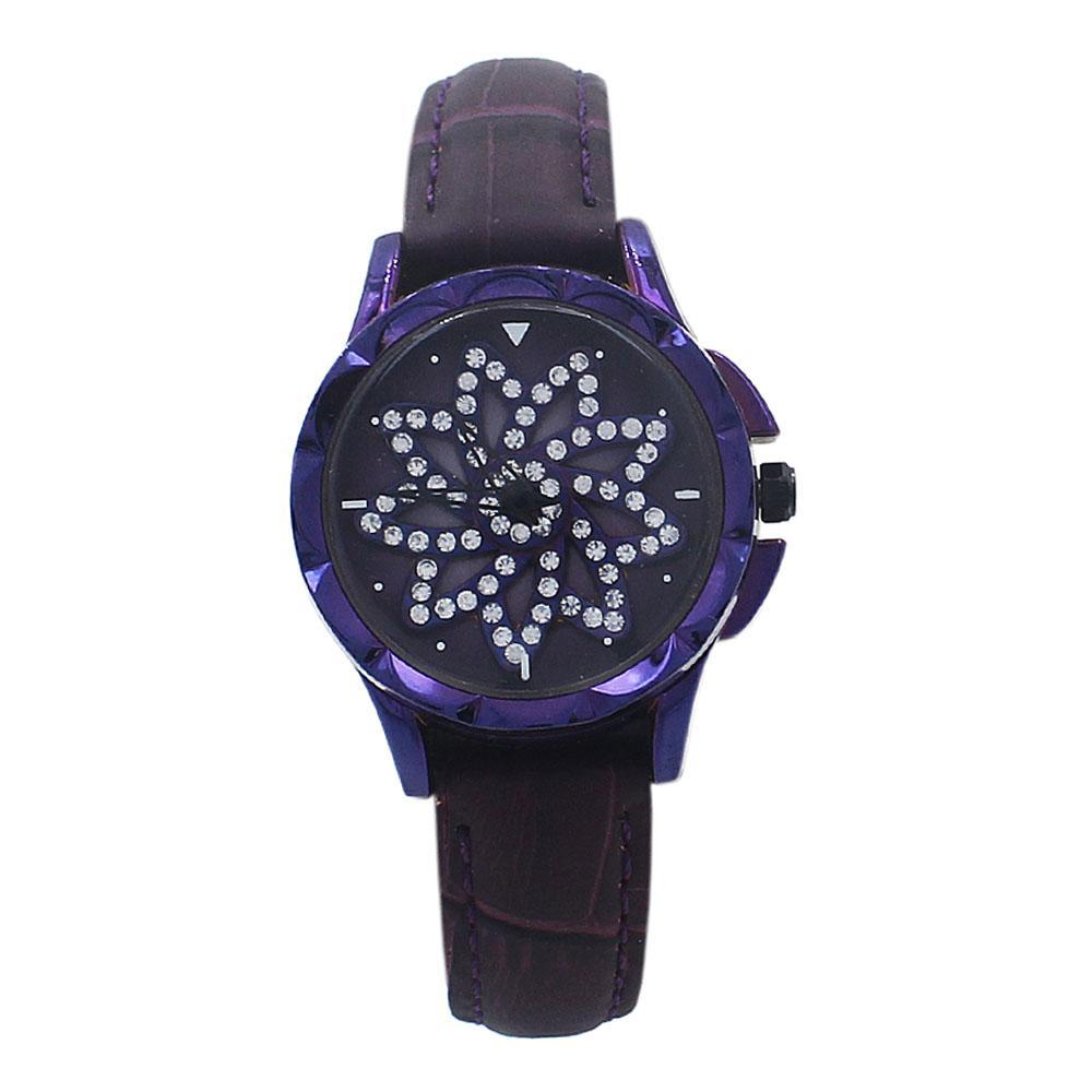 Purple Crystal Studded Leather SpinnerLadies Watch