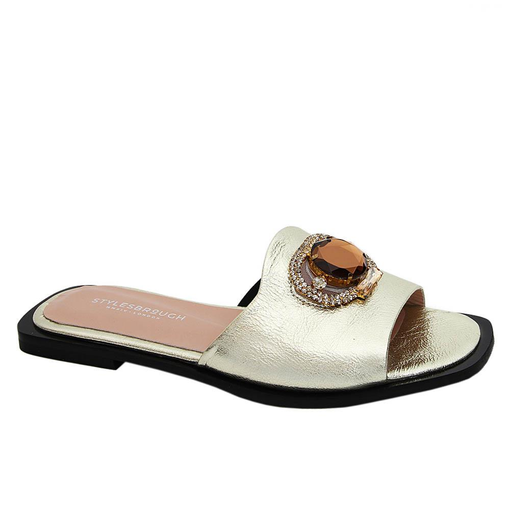 Gold Aretha Shinny Tuscany Leather Women Flat Slippers