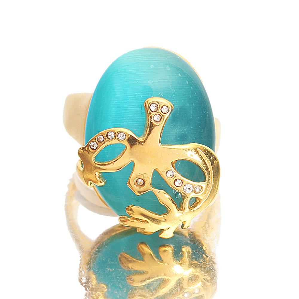 Gold Steel Blue Stone Vintage Ladies Ring Sz X