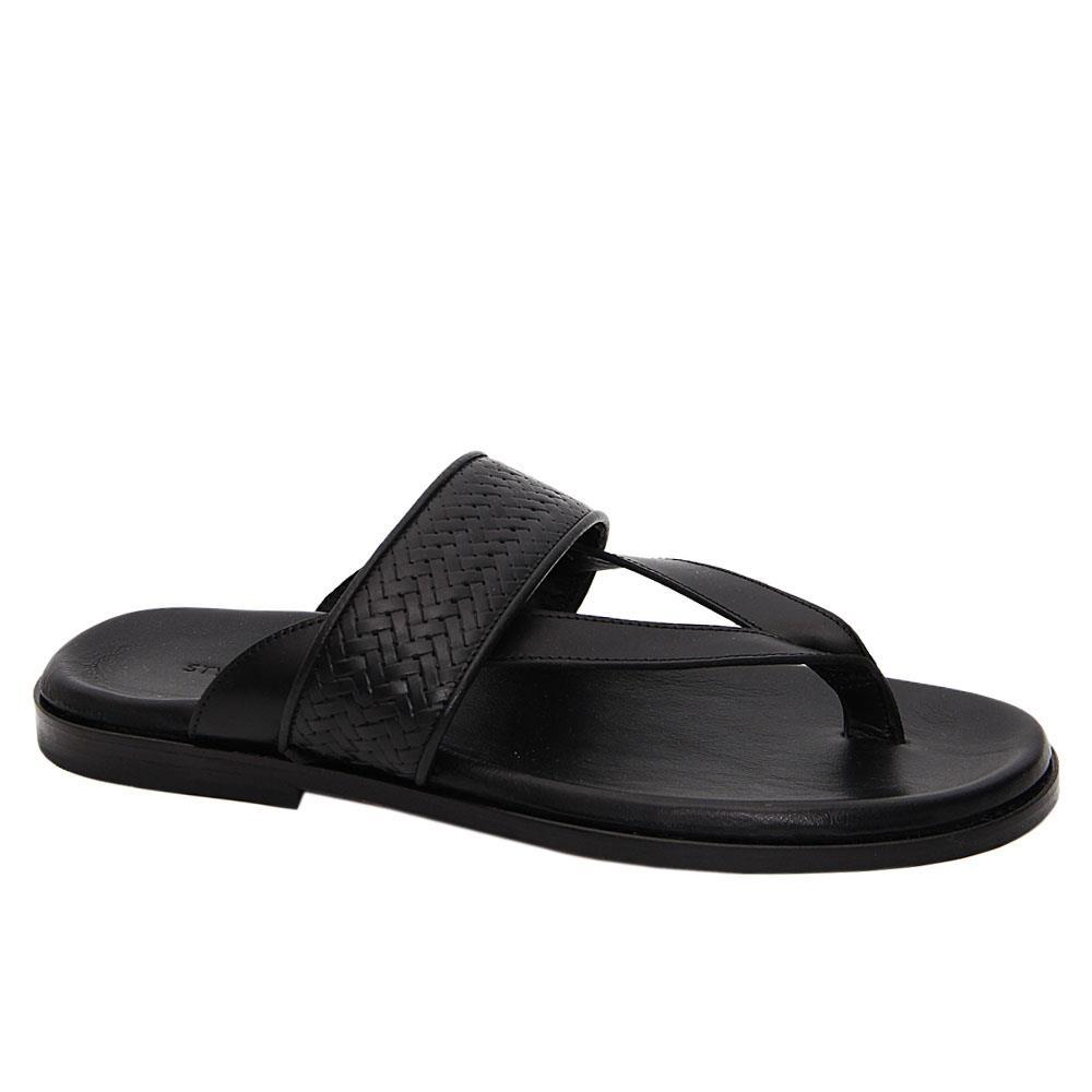 Black Edoardo Italian Leather Slippers