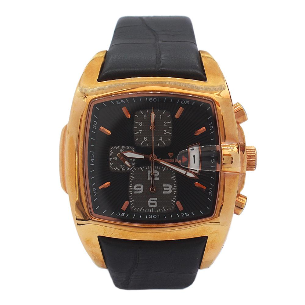 DR 3ATM Gold Black Leather Chronograph Watch