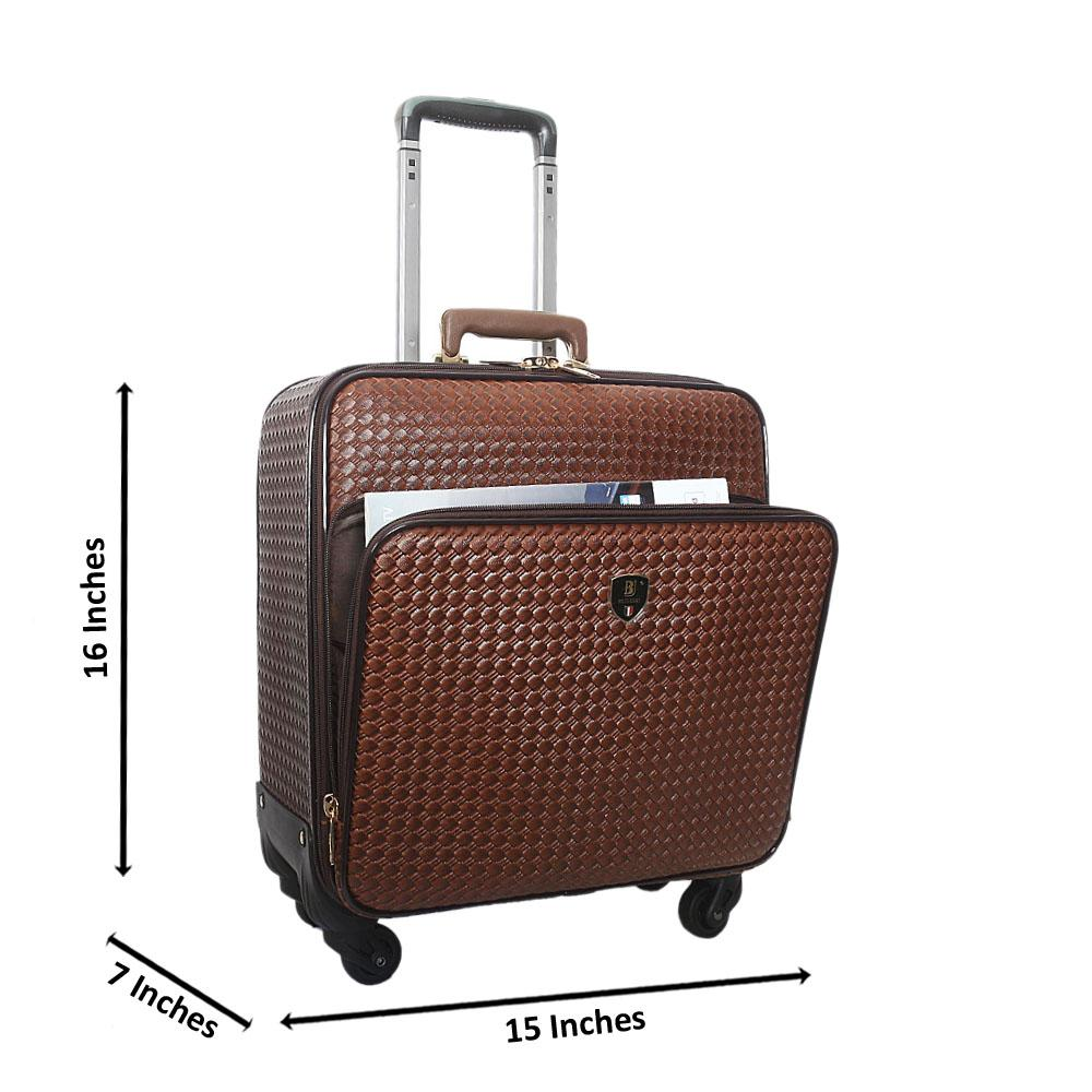 Coffee Wooven Style 16 Inch Leather Pilot Suitcase Wt Lock