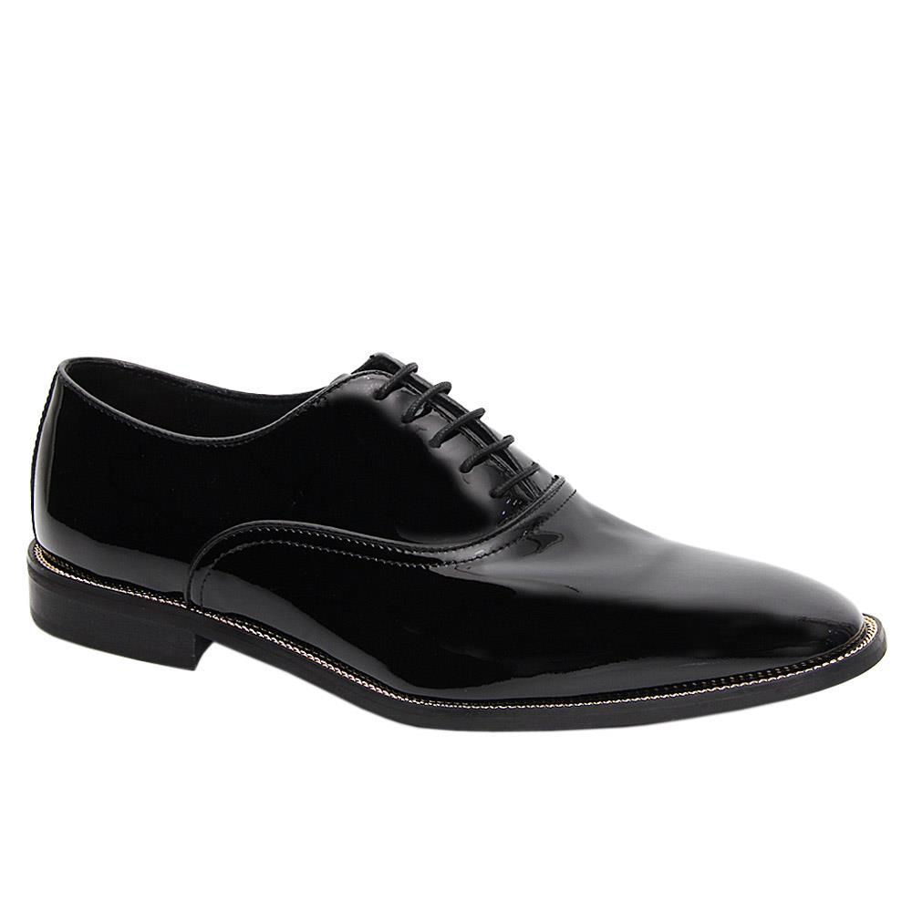 K Geiger Black McCooper Patent Leather Oxford Shoe