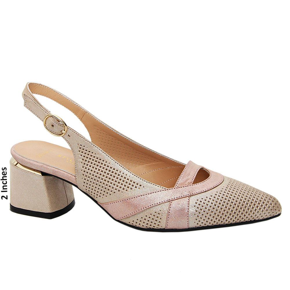 Cream Nadia Tuscany Leather Low Heel Slingback Pumps