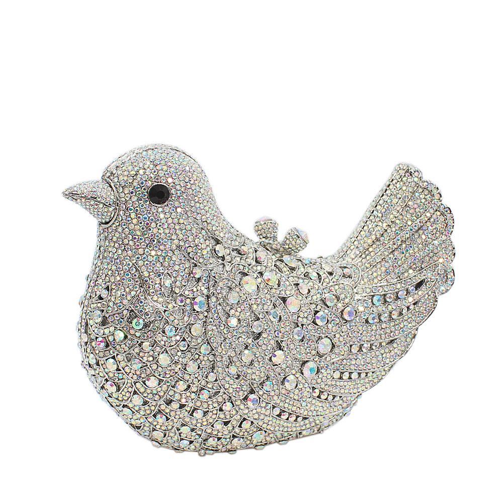 Silver Bird Diamante Crystals Clutch Purse