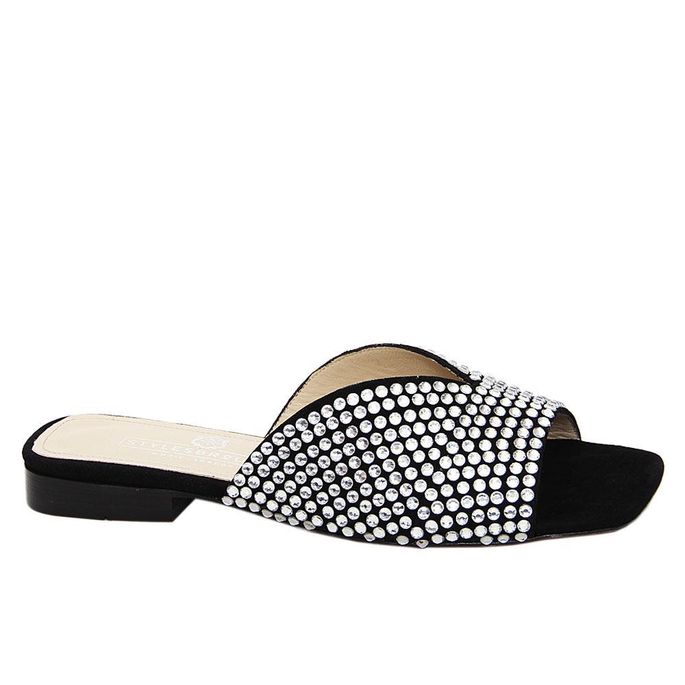 Black Valery Studded Italian Leather Low Heel Slippers