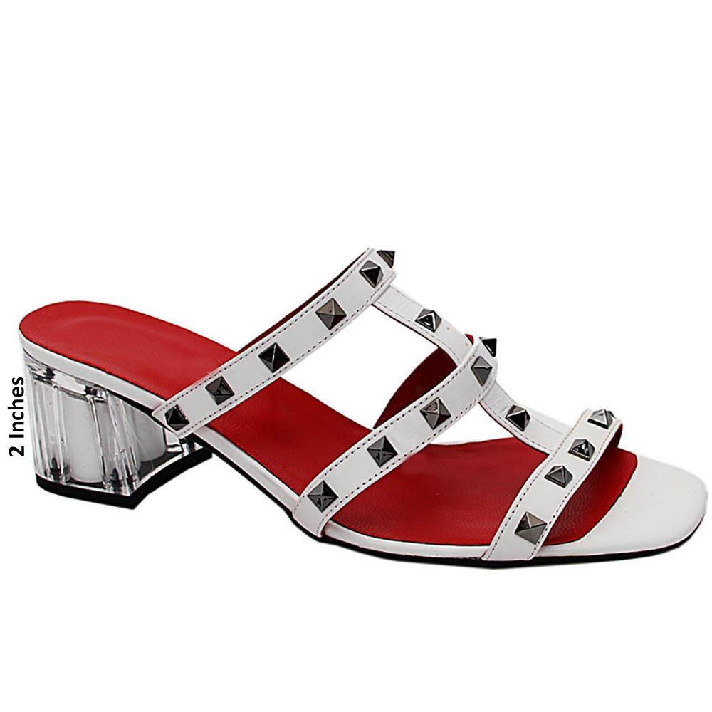 White Evelina Studded Italian Leather Mid Heel Mule