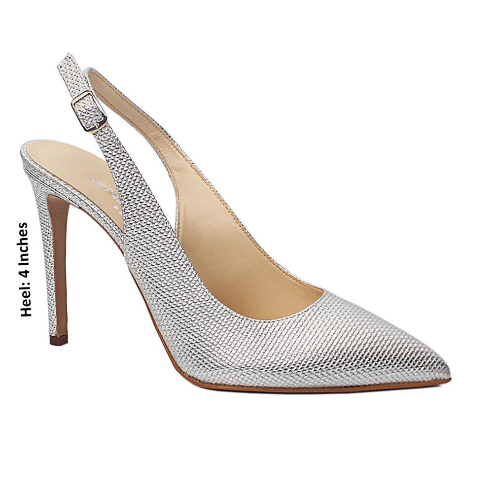 Silver Adria Argento Embossed Leather Slingback Heel