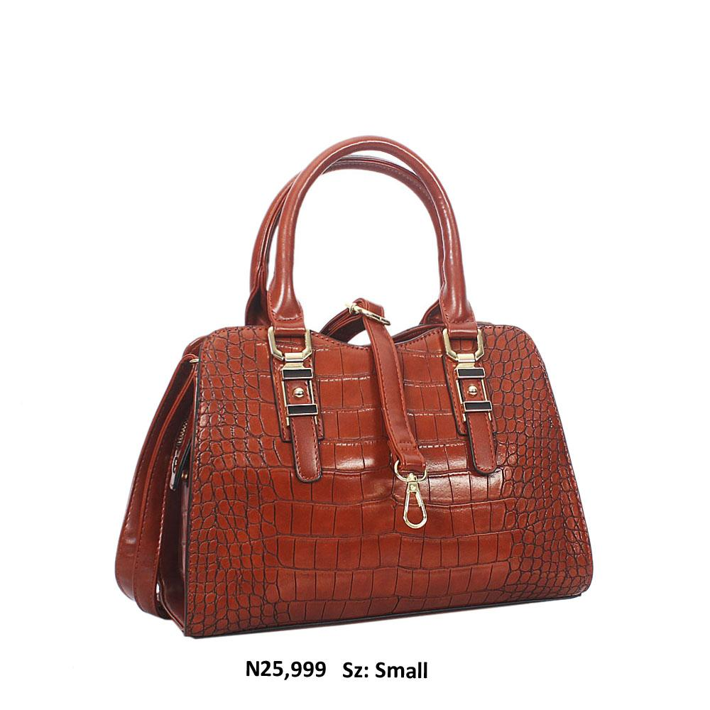 Brown Claudia Croc Style Leather Tote Handbag