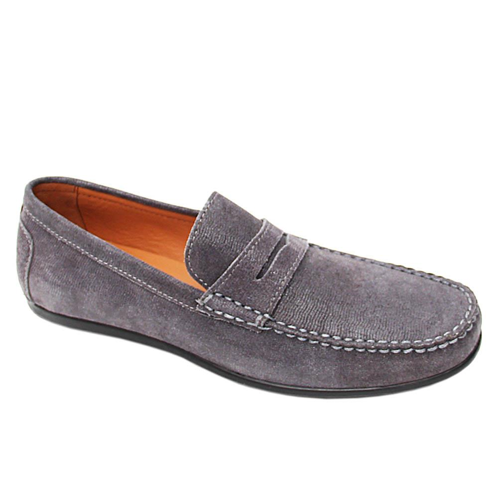 Grey Johannes Glitz Italian Leather Drivers Shoe