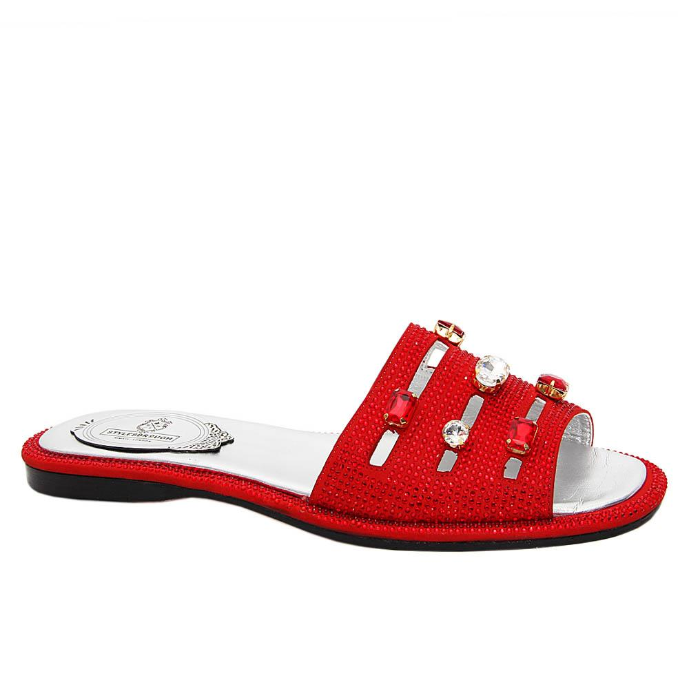Red Addison Studded Italian Leather Women Flat Slippers