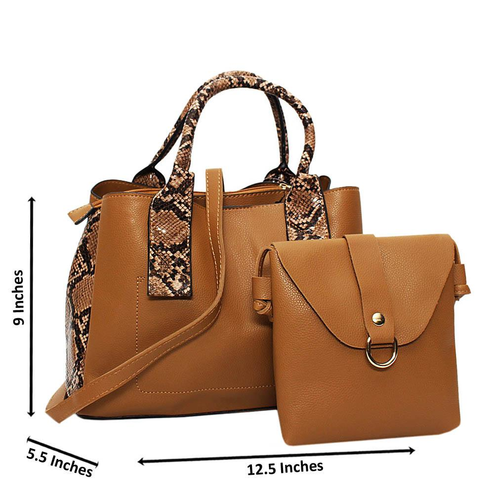 Brown Mix Snake Skin Leather Medium 2 in 1 Tote Handbag