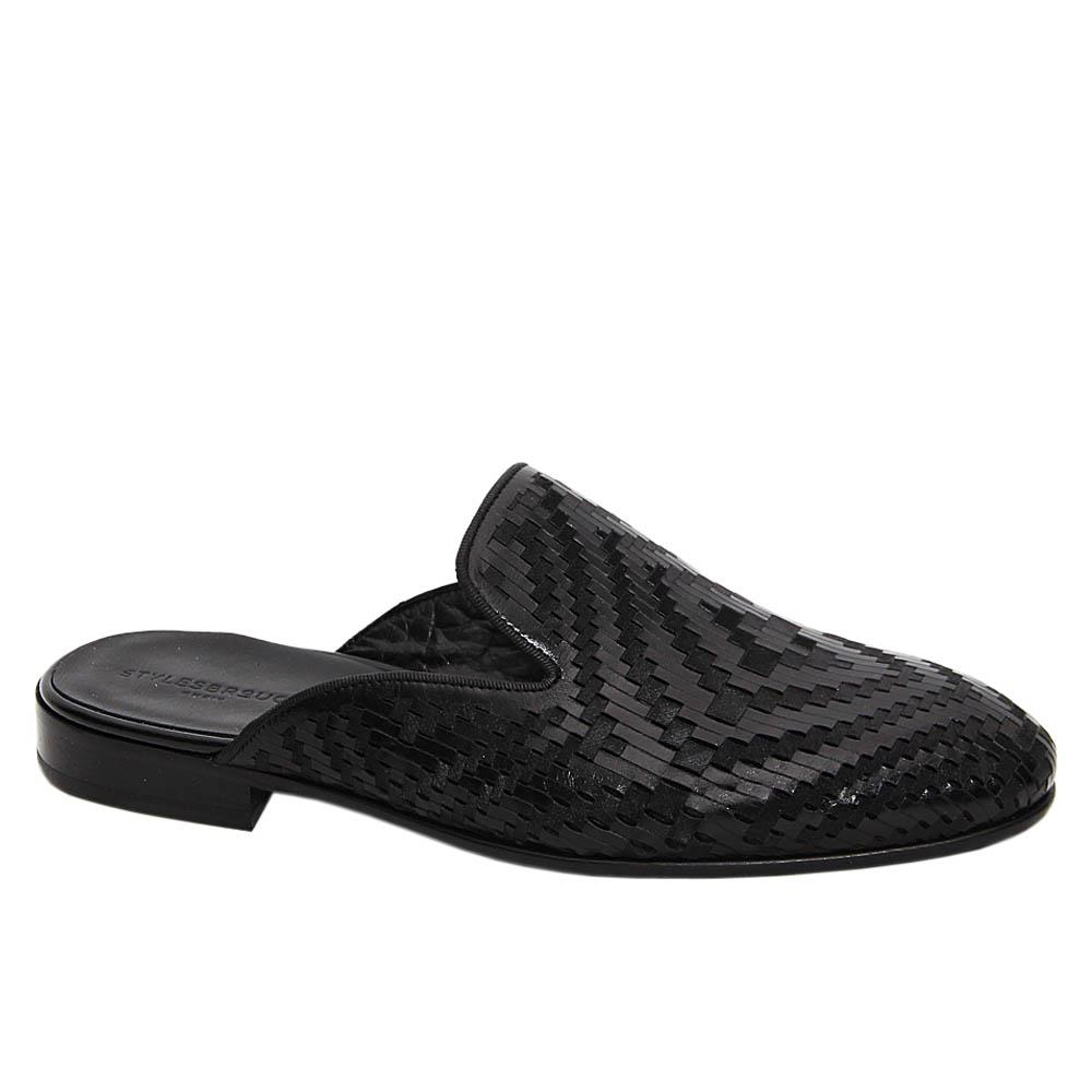 Black Ruben Woven Styled Italian Leather Half Shoe