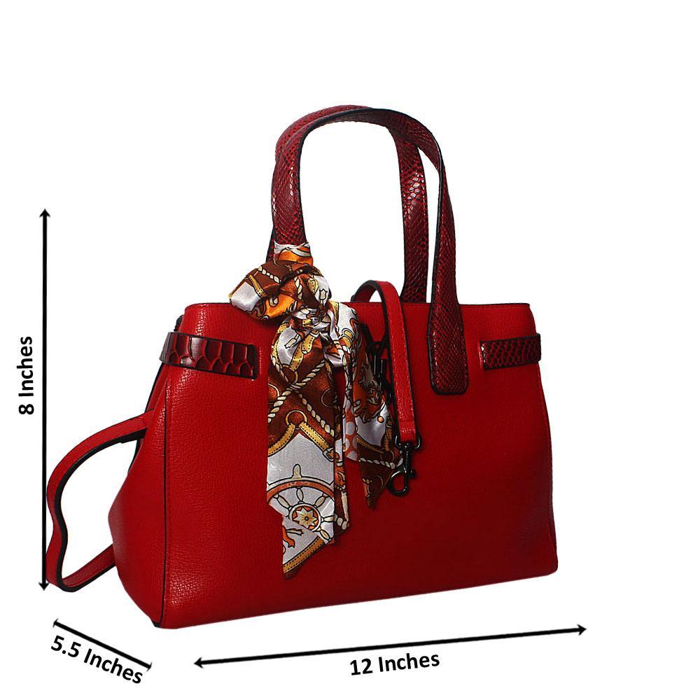 Divya Red Embossed Python Tote Handbag