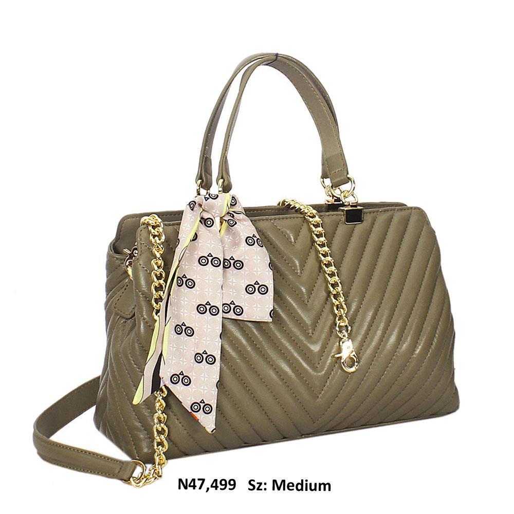 Khaki Isla Leather Tote Handbag